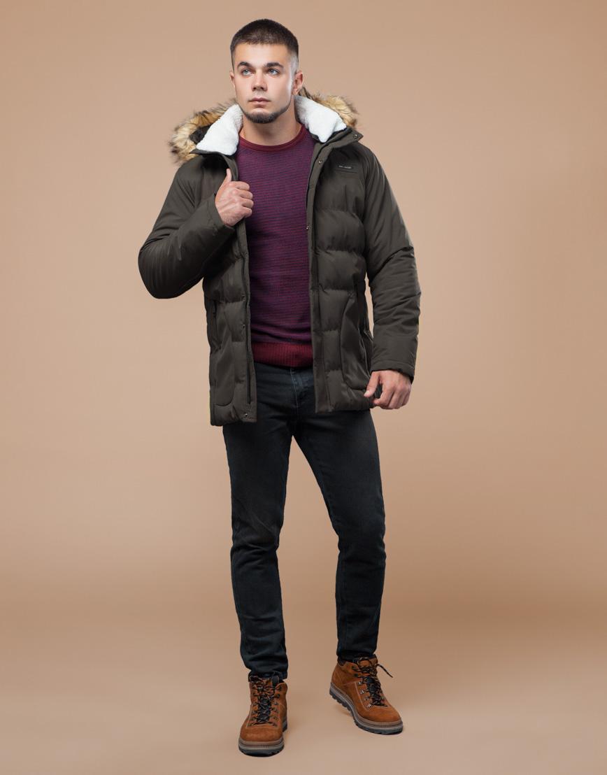 Куртка цвета кофе молодежная с воротником модель 25780 фото 2