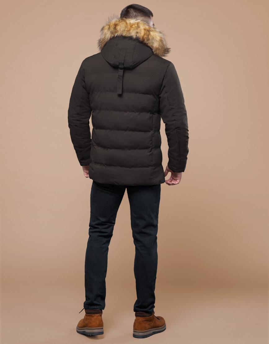 Куртка цвета кофе молодежная с воротником модель 25780 фото 4