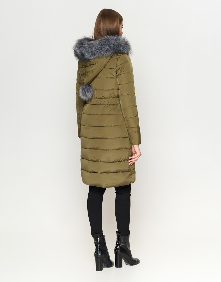 Высококачественная женская куртка цвета хаки модель 8606 фото 4
