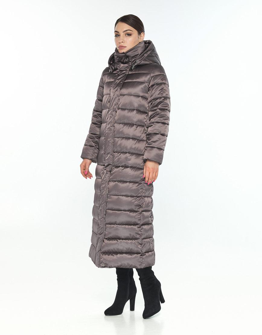 Трендовая длинная куртка женская Wild Club капучиновая 524-65 фото 2