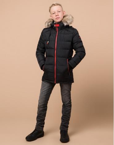 Теплая детская черная куртка модель 68255 оптом