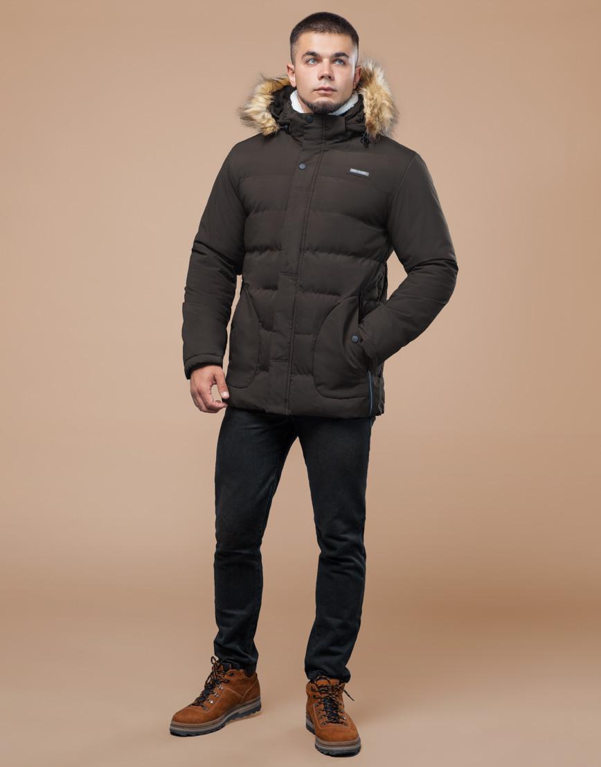 Куртка цвета кофе молодежная с воротником модель 25780 фото 3