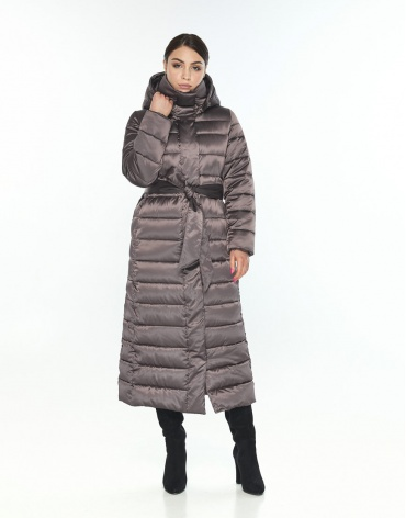 Трендовая длинная куртка женская Wild Club капучиновая 524-65 фото 1