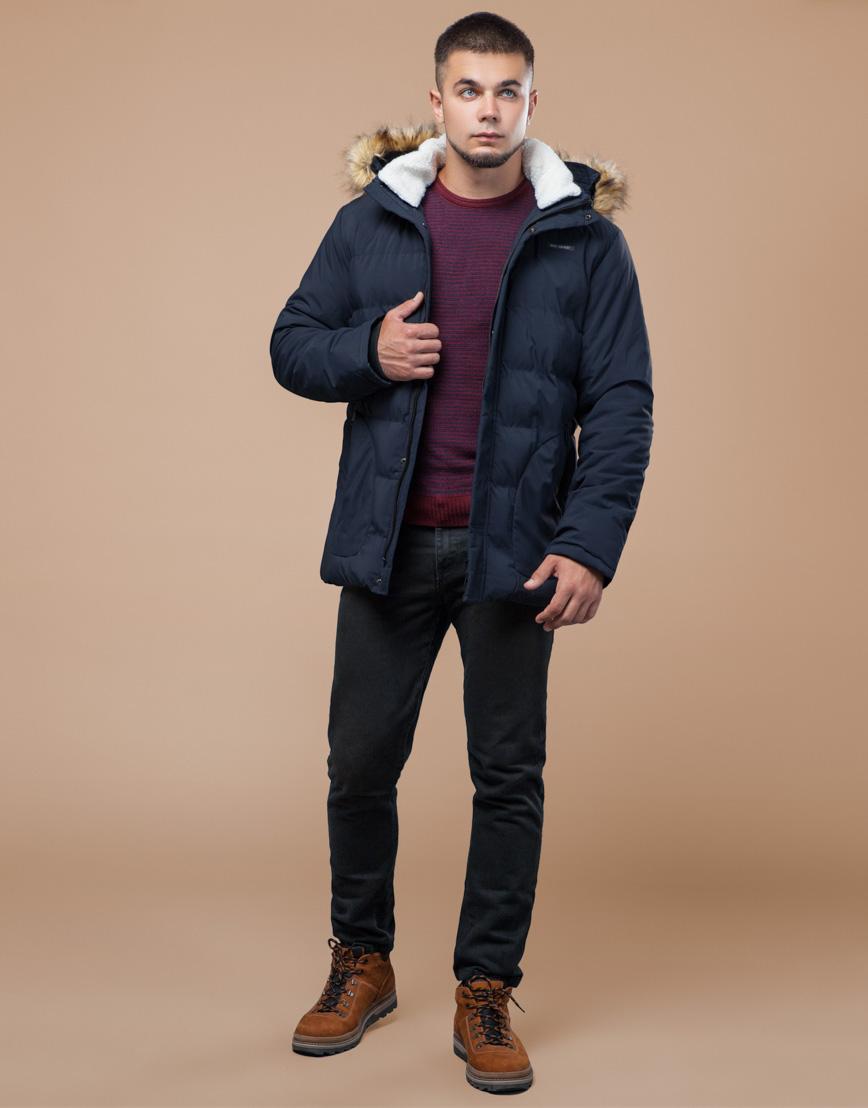 Молодежная синяя куртка с капюшоном модель 25780 фото 2