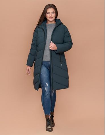 Бирюзовая практичная куртка женская большого размера модель 25015