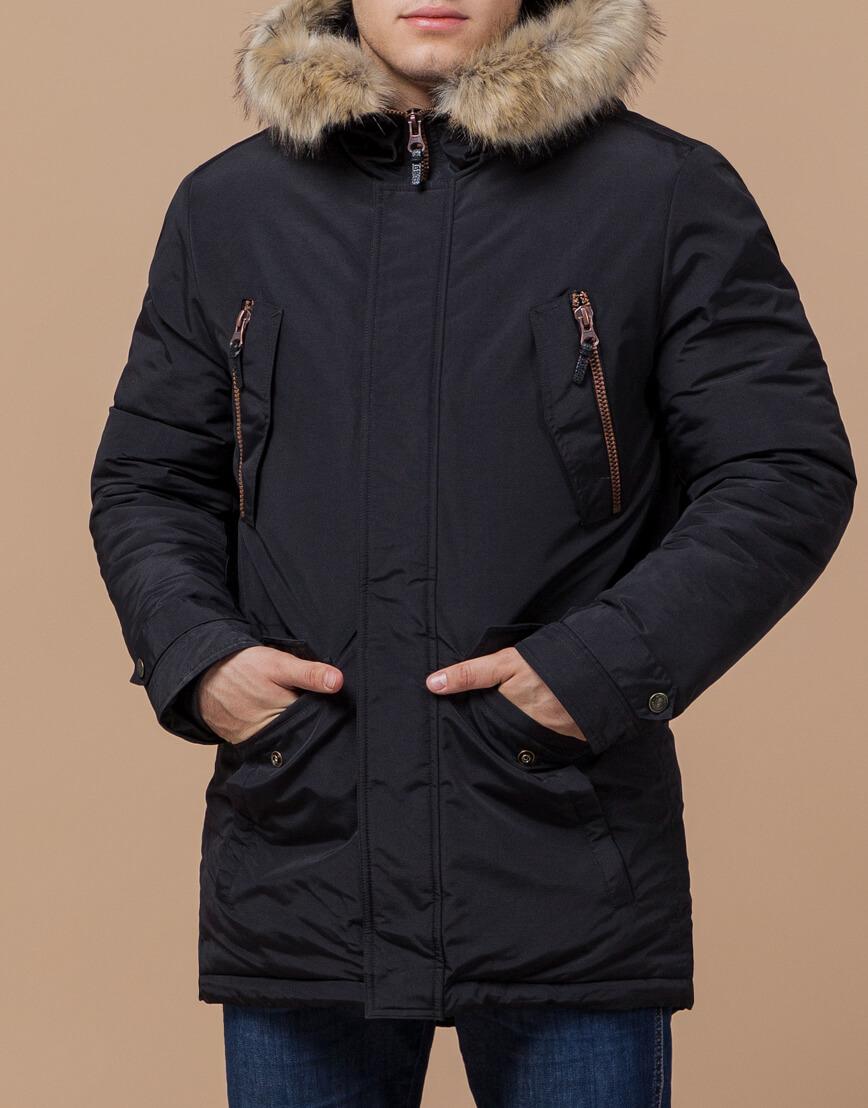 Парка с карманами зимняя черная модель 37560 фото 2
