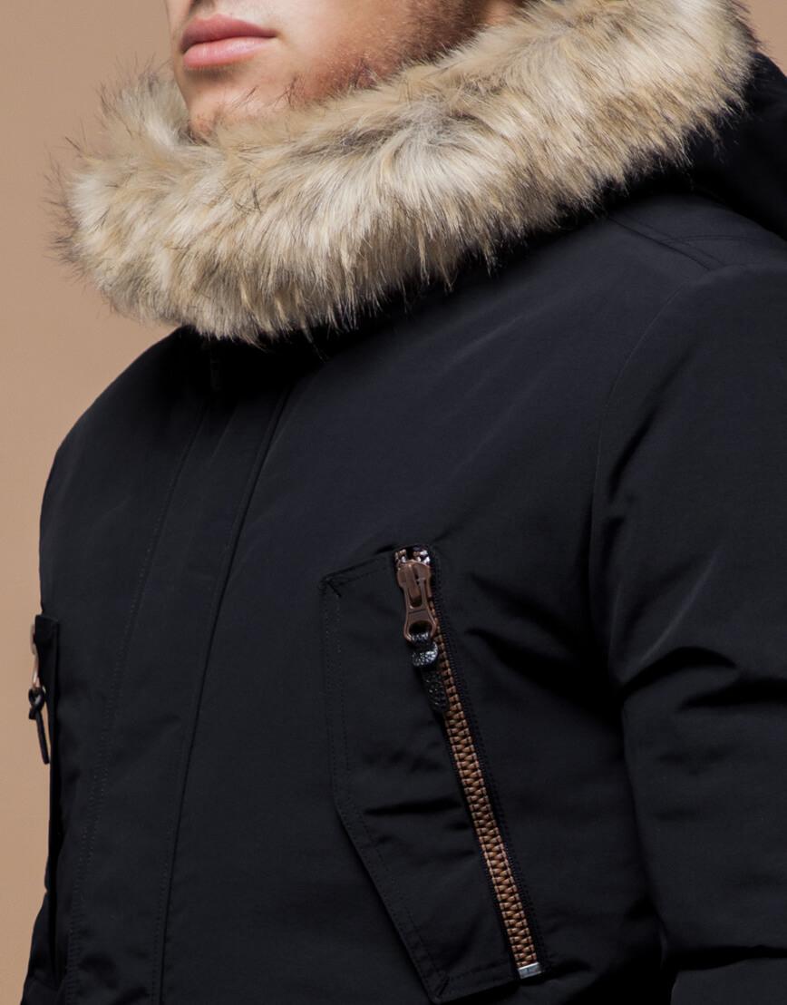 Парка с карманами зимняя черная модель 37560 фото 4