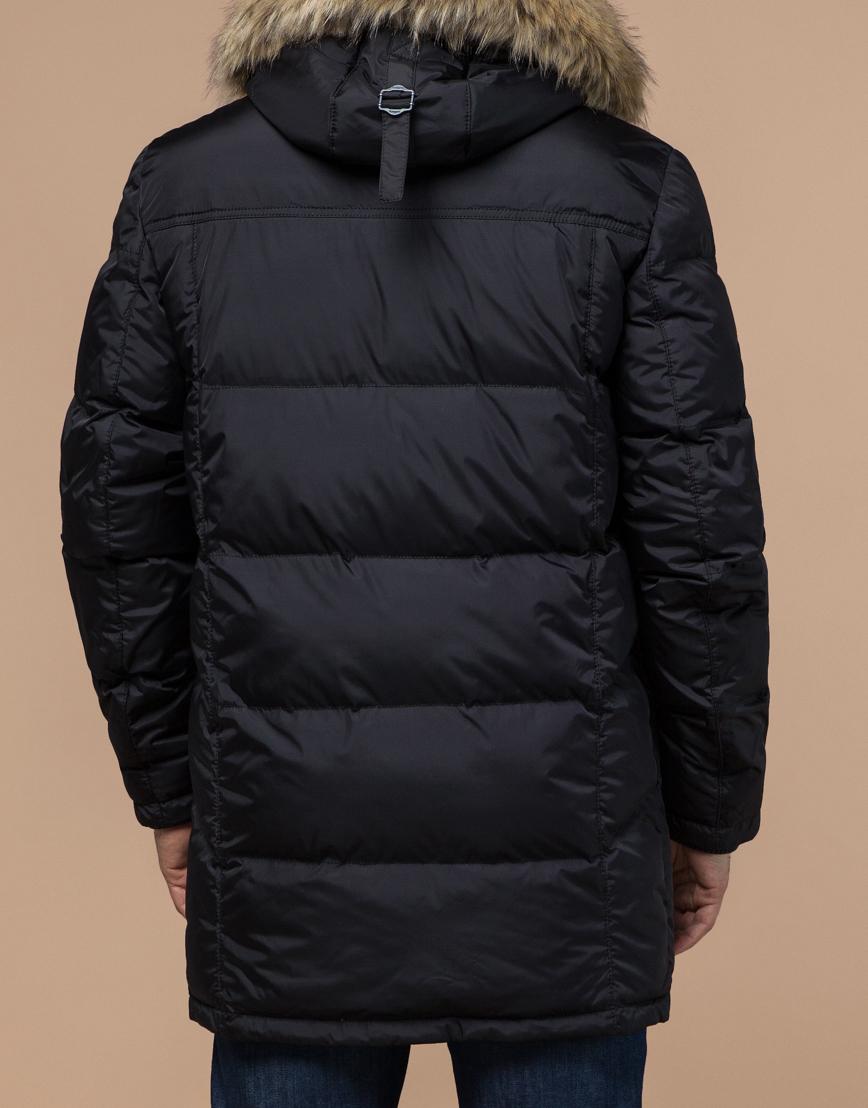 Куртка с опушкой эффектная теплая черного цвета модель 3993