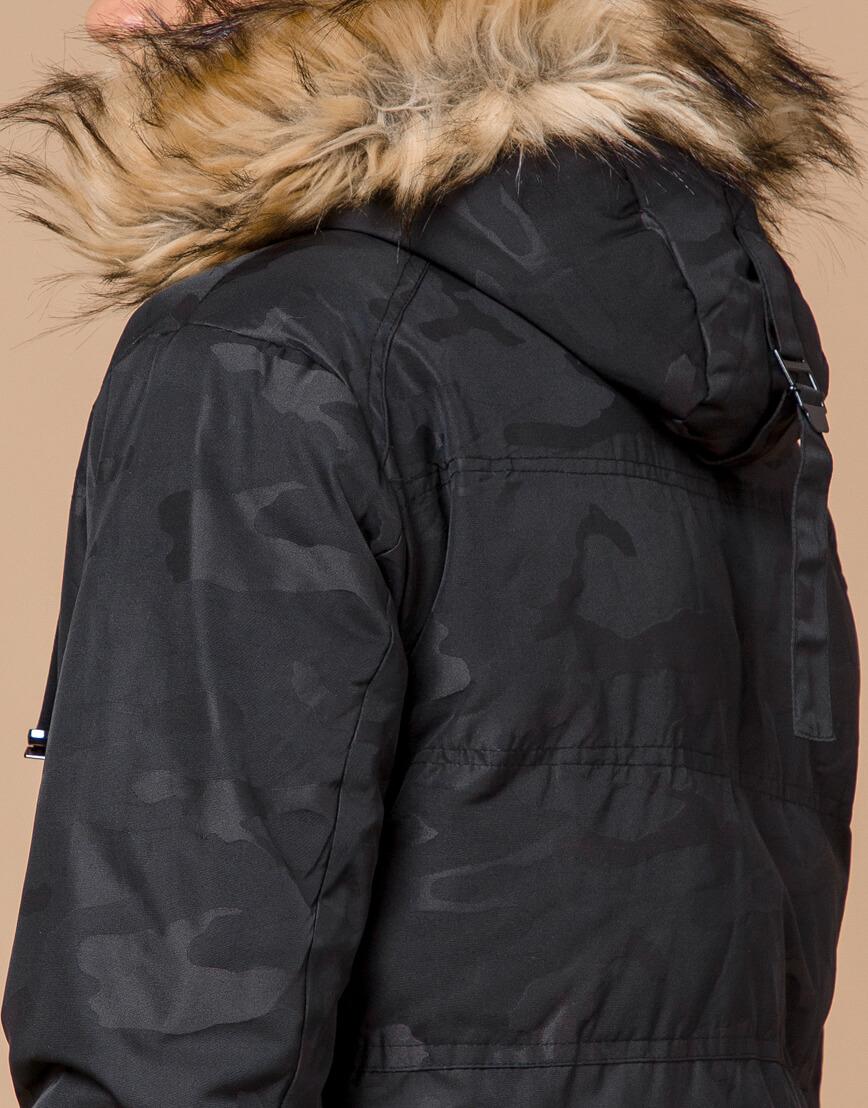 Теплая молодежная черная дизайнерская куртка модель 25310 фото 7