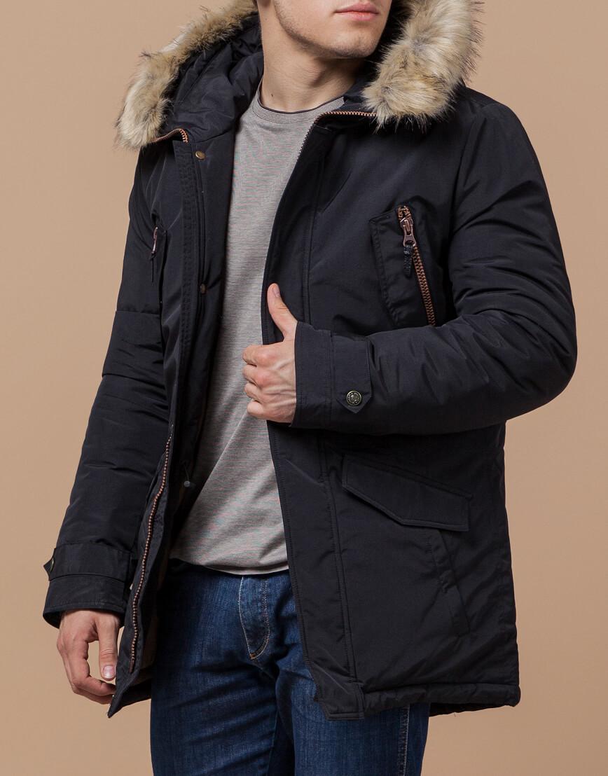Парка с карманами зимняя черная модель 37560 фото 1