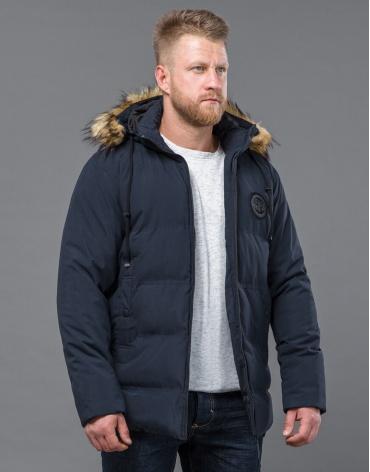 Куртка зимняя синего цвета стильная модель 55825 оптом