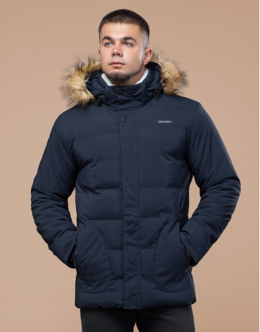 Молодежная синяя куртка с капюшоном модель 25780 фото 1