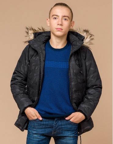 Теплая молодежная черная дизайнерская куртка модель 25310 фото 1