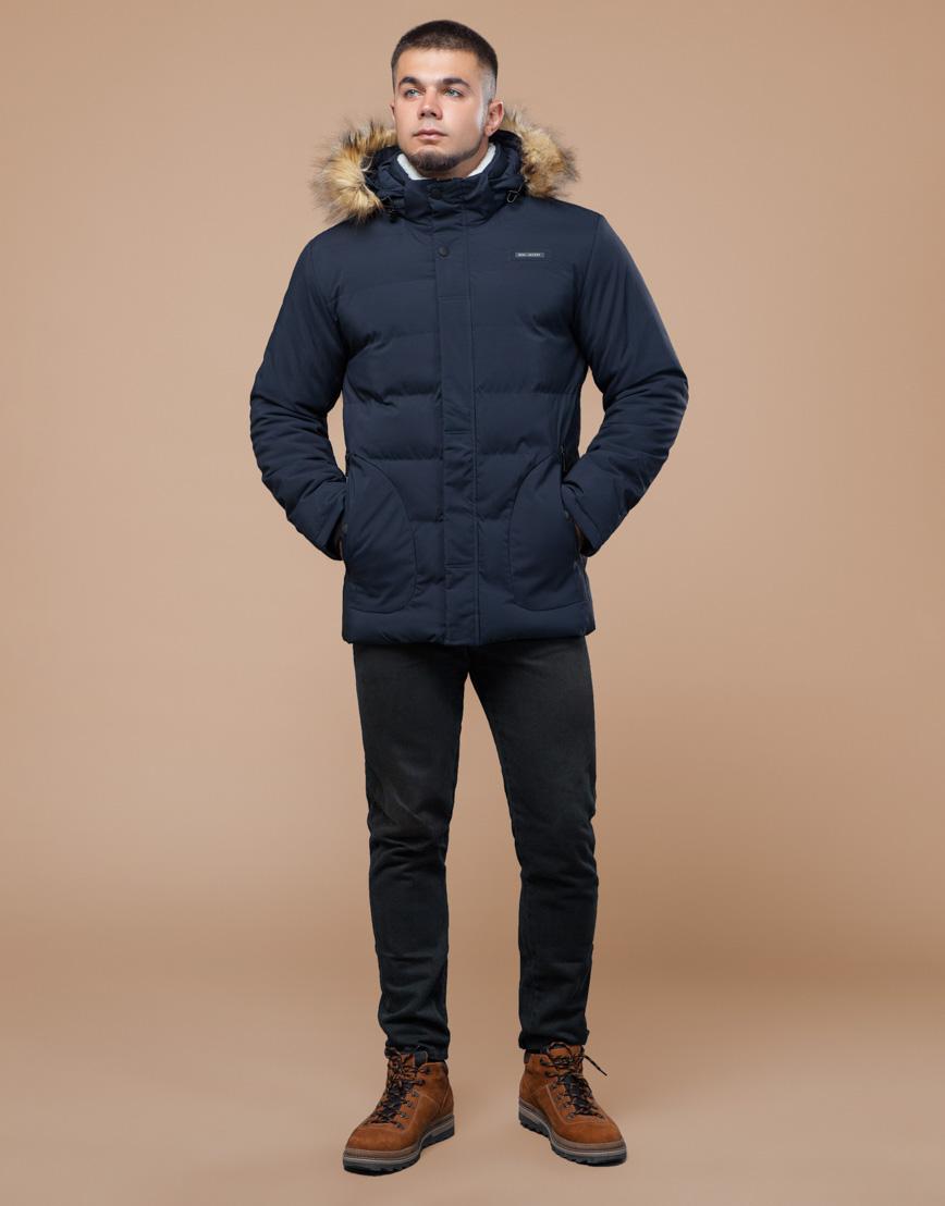 Молодежная синяя куртка с капюшоном модель 25780 фото 3