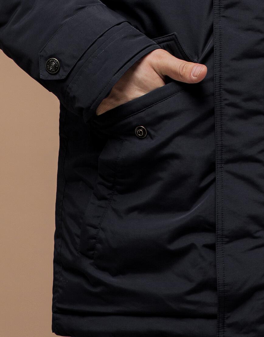 Парка с карманами зимняя черная модель 37560 фото 5
