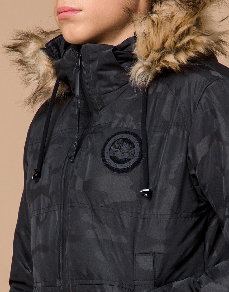 Теплая молодежная черная дизайнерская куртка модель 25310 фото 5