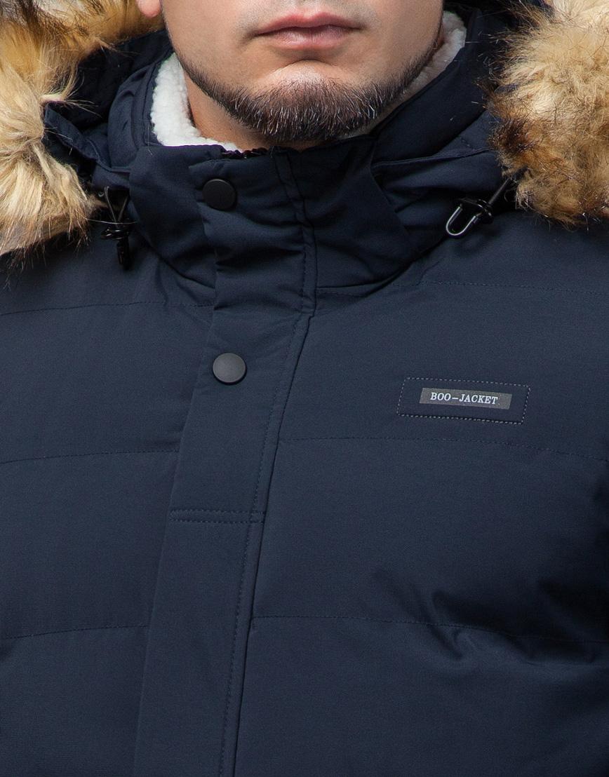 Молодежная синяя куртка с капюшоном модель 25780 фото 5