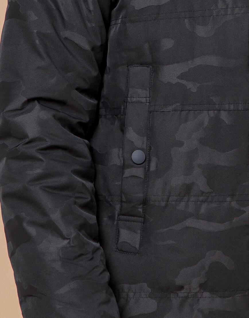 Теплая молодежная черная дизайнерская куртка модель 25310 фото 6
