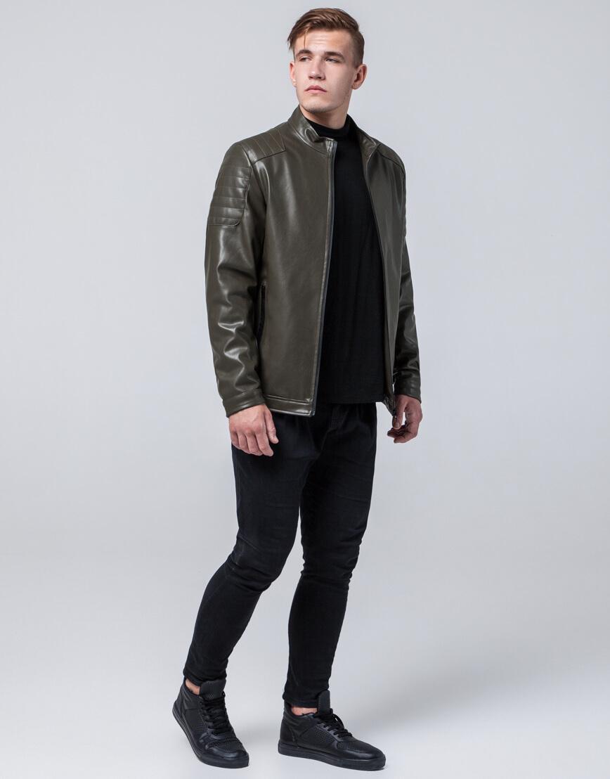 Стильная молодежная куртка цвет хаки модель 4129 фото 1