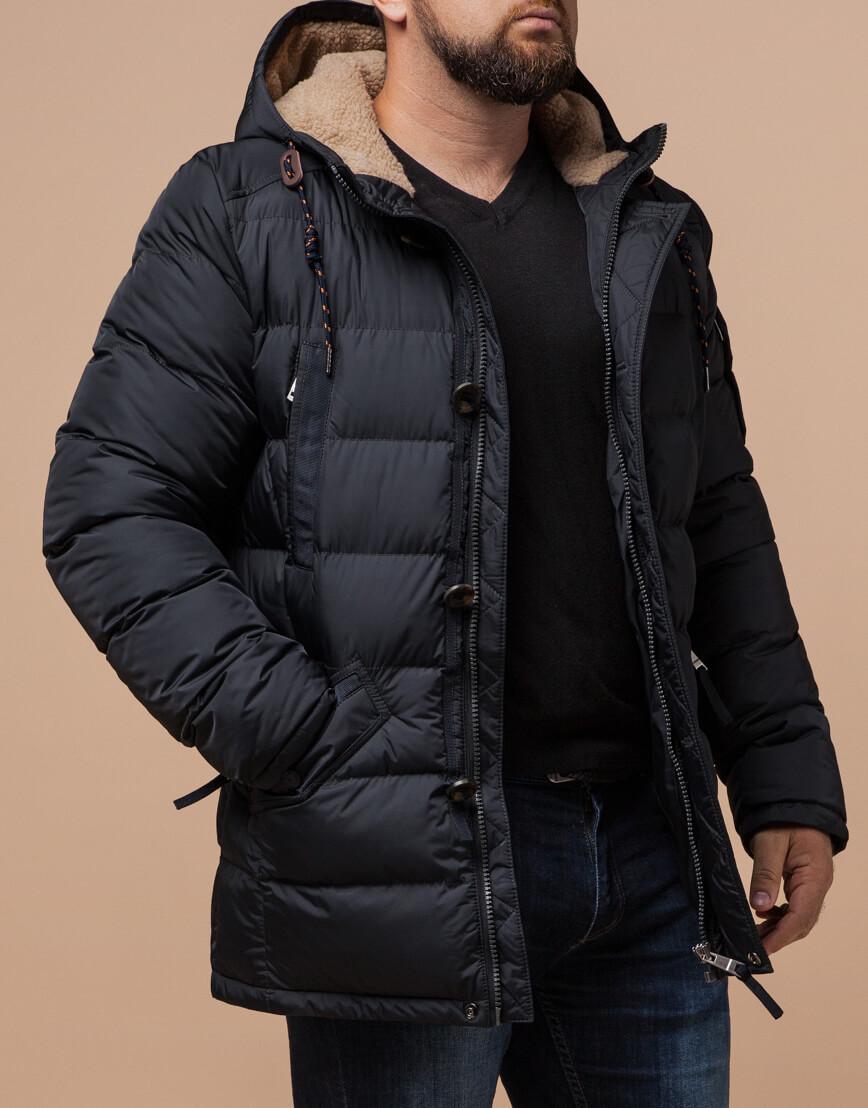 Куртка зимняя мужская графитового цвета модель 26402 оптом фото 1