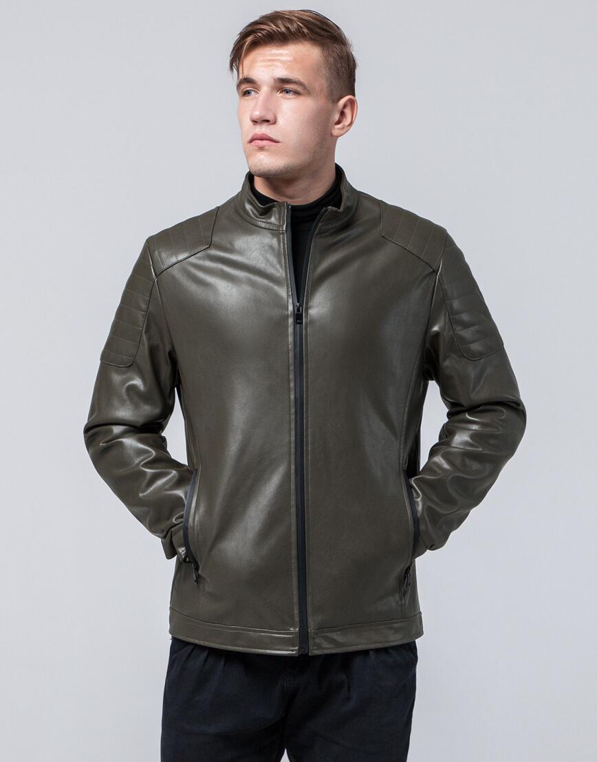 Стильная молодежная куртка цвет хаки модель 4129 фото 2