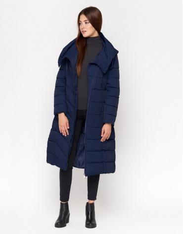Синяя длинная куртка женская модель DR23 фото 1