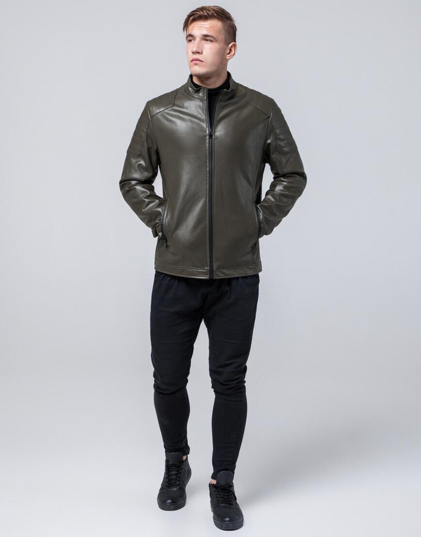Стильная молодежная куртка цвет хаки модель 4129 фото 3