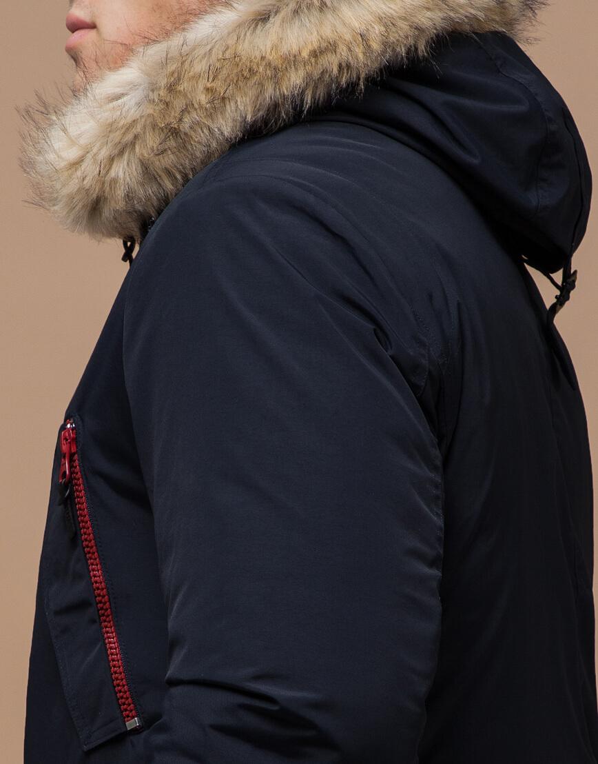 Парка теплая синяя зимняя модель 37560 фото 6