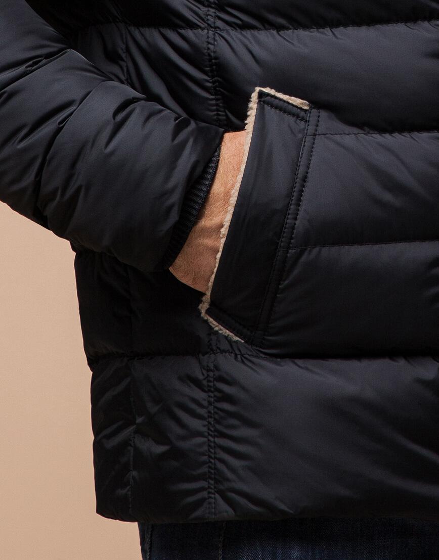 Черная куртка качественного пошива модель 12149 фото 5