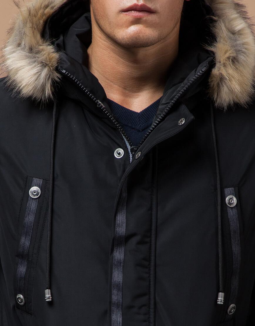 Черная парка зимняя мужская стильная модель 27830 фото 4