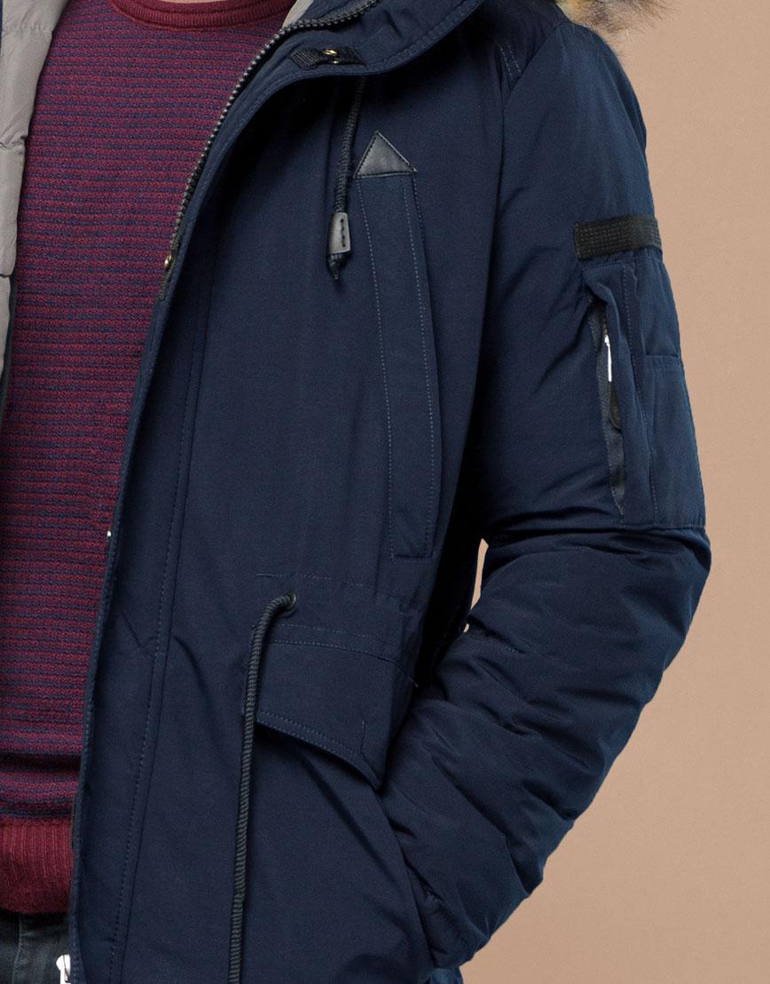 Парка синяя зимняя брендовая модель 25770 фото 6