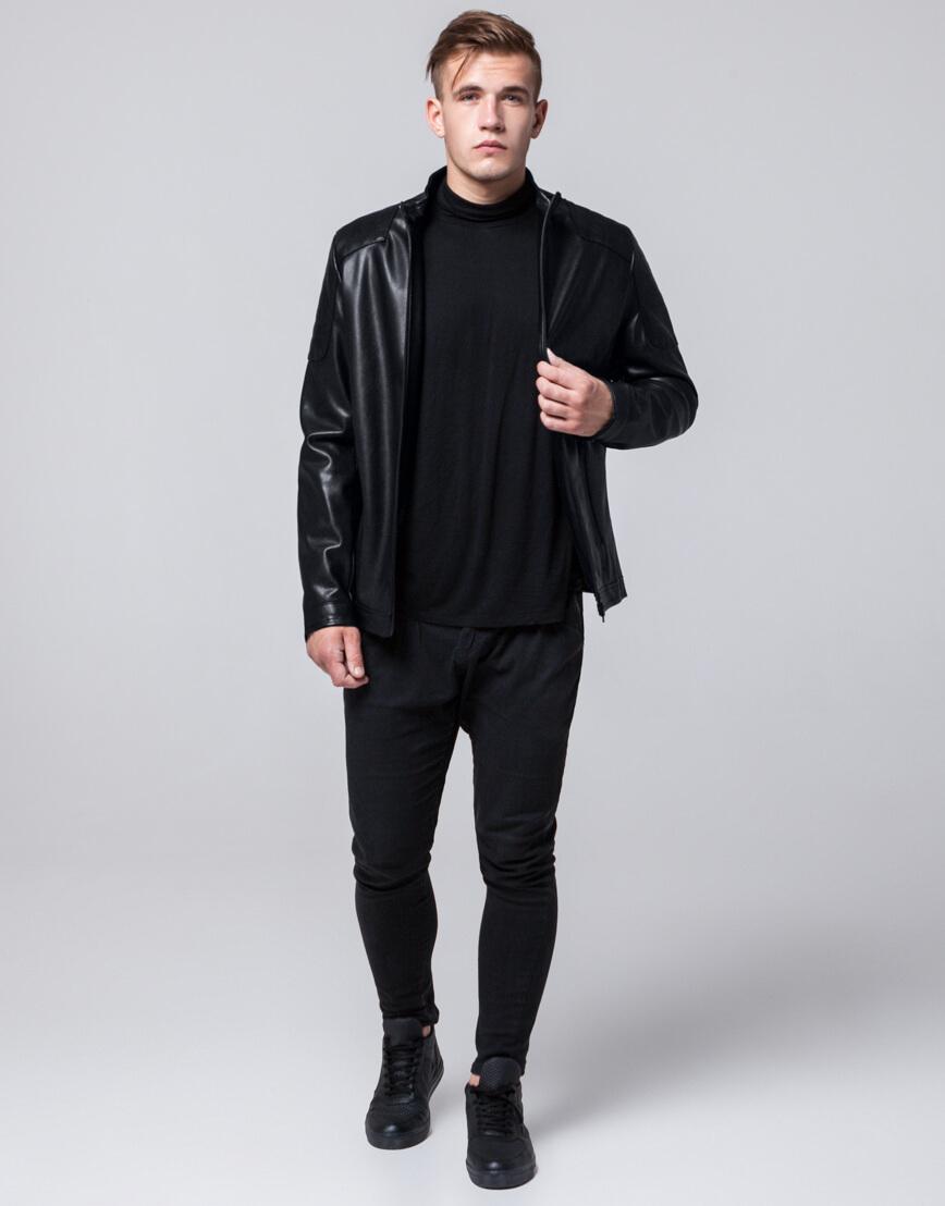 Современная черная молодежная куртка модель 4129