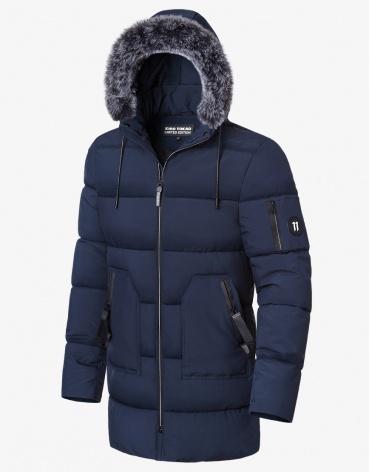 Зимняя куртка темно-синяя качественная модель 8810
