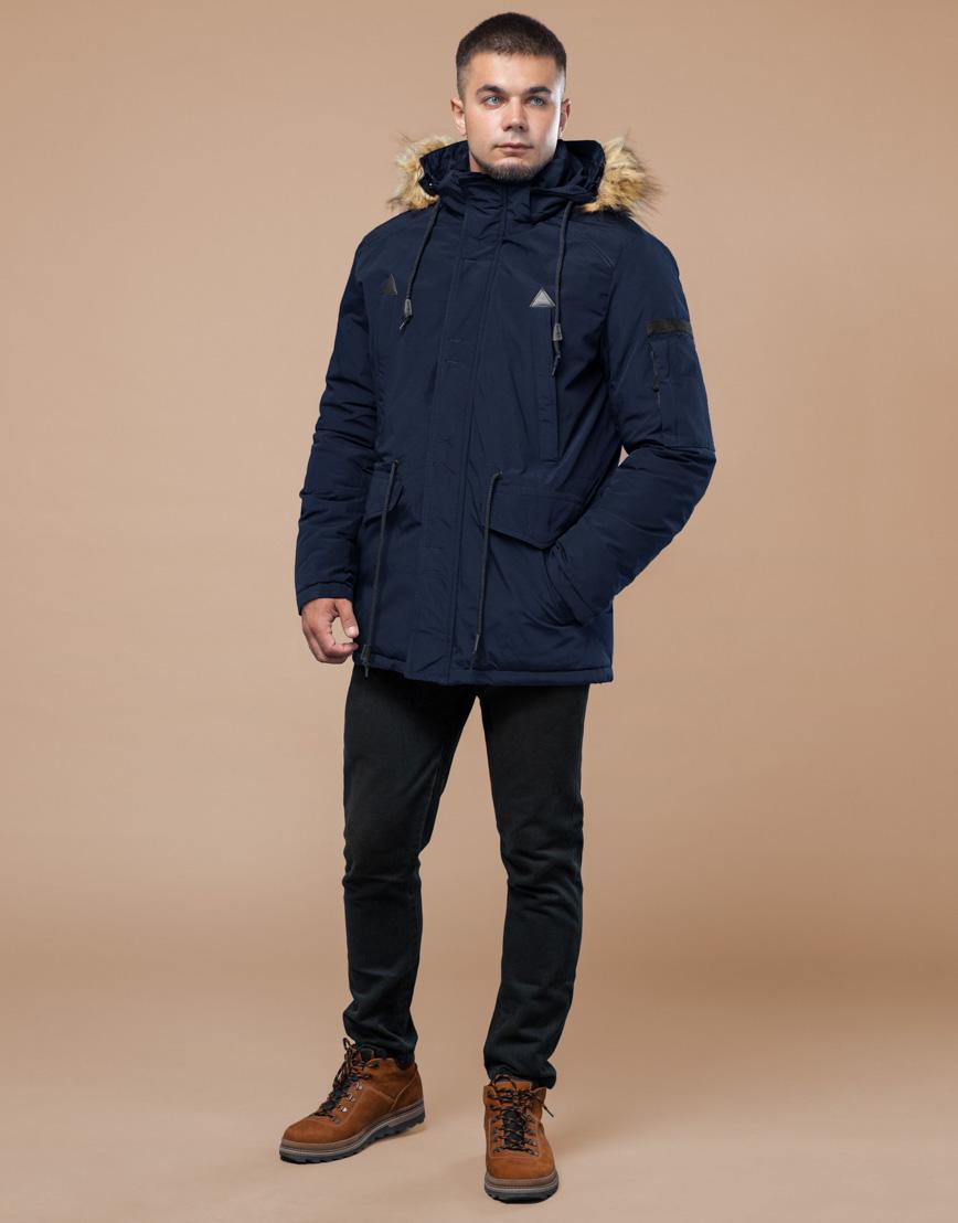 Парка синяя зимняя брендовая модель 25770 фото 3