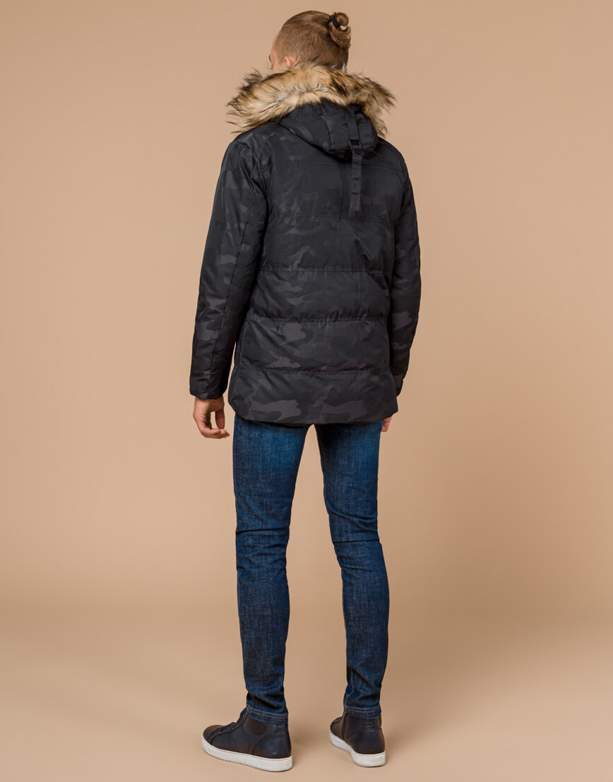 Черная практичная дизайнерская куртка подростковая модель 25310 фото 4
