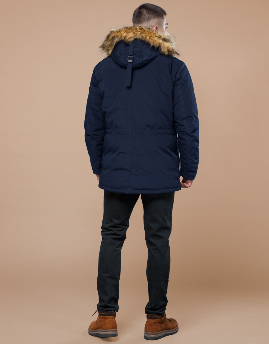 Парка синяя зимняя брендовая модель 25770 фото 4