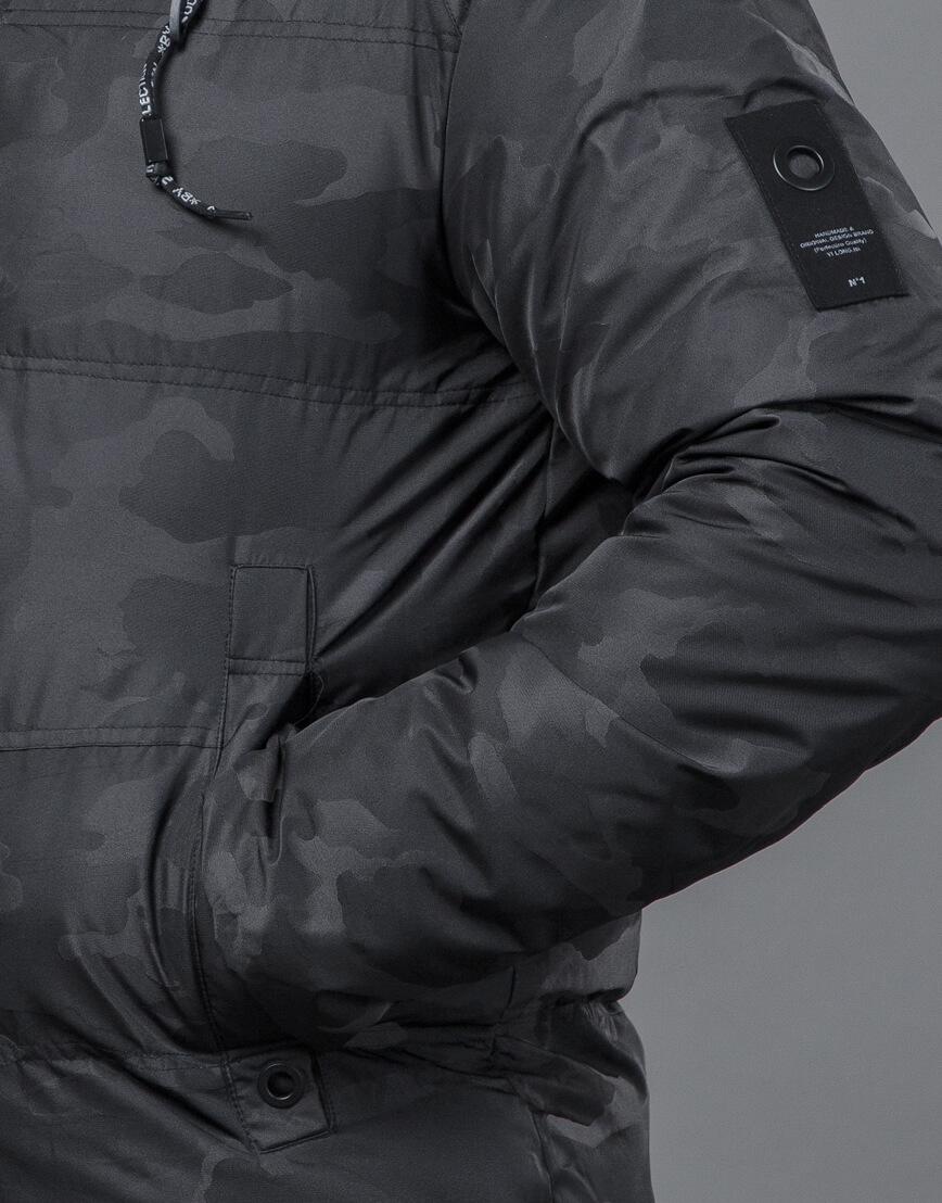 Черная дизайнерская куртка на меху зимняя модель 59910 оптом
