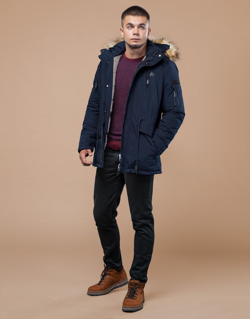 Парка синяя зимняя брендовая модель 25770 фото 1
