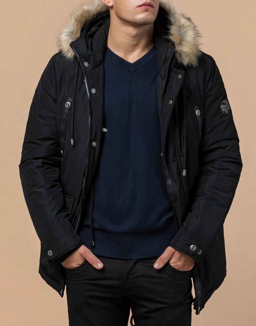 Черная парка зимняя мужская стильная модель 27830 фото 2