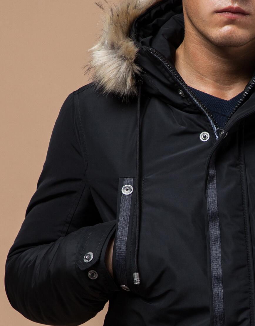 Черная парка зимняя мужская стильная модель 27830 фото 5