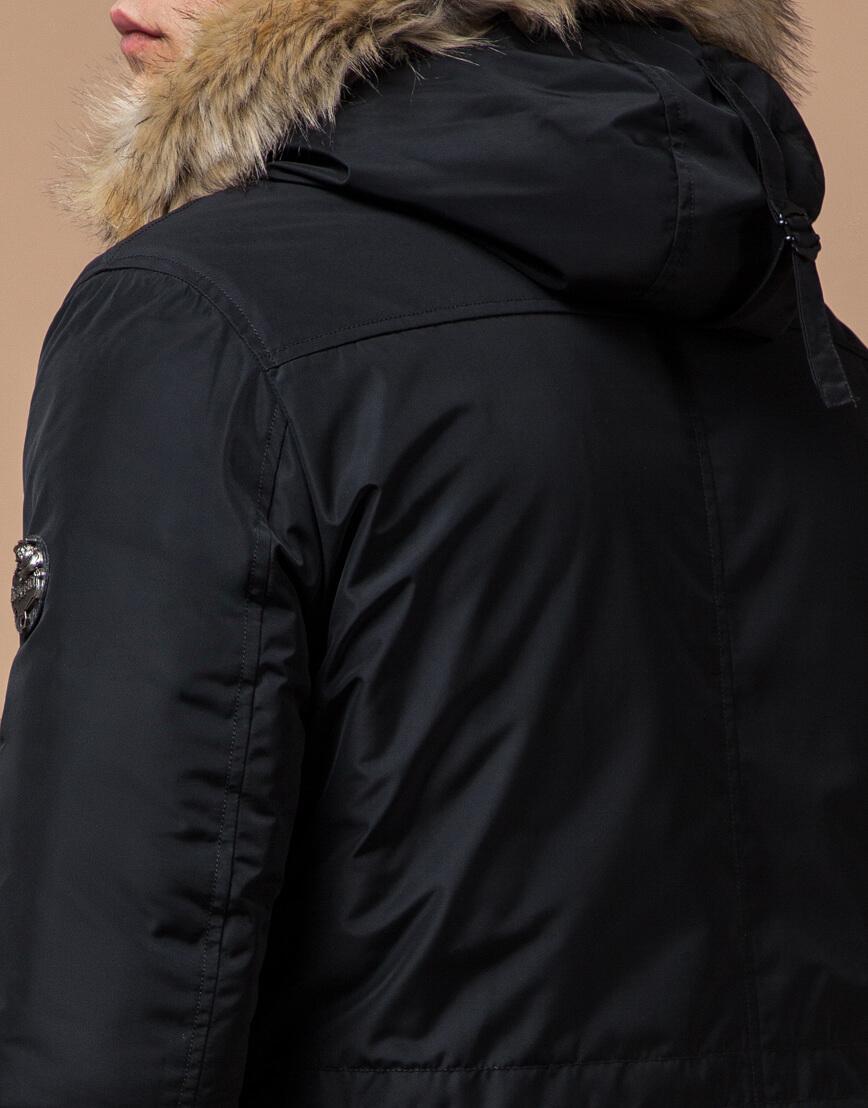 Черная парка зимняя мужская стильная модель 27830 фото 7