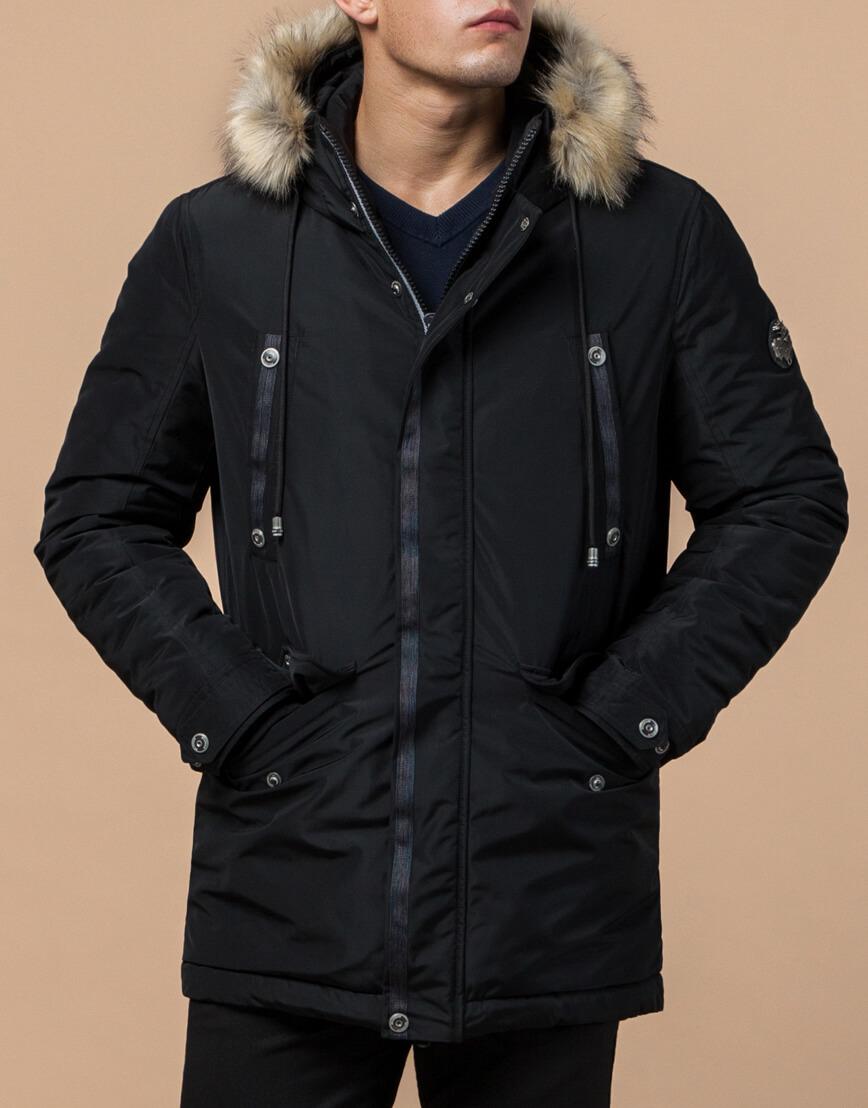 Черная парка зимняя мужская стильная модель 27830 фото 1
