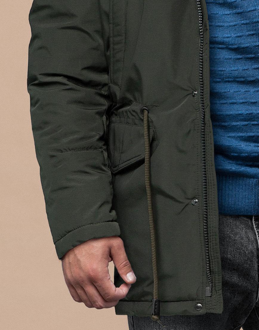 Темно-зеленая парка зимняя оригинального дизайна модель 25770 фото 6