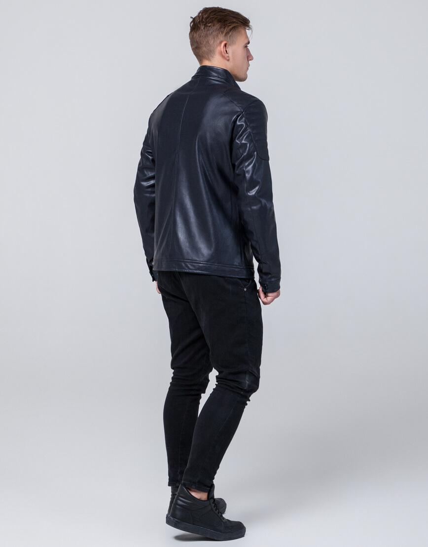 Оригинальная темно-синяя молодежная куртка модель 4129 фото 4