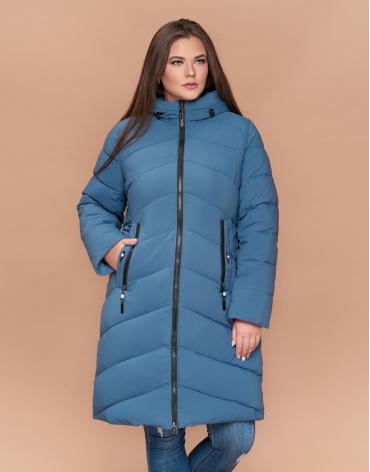 Оригинальная темно-голубая куртка женская большого размера модель 25015