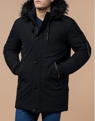 Черная парка зимняя модного дизайна модель 9842