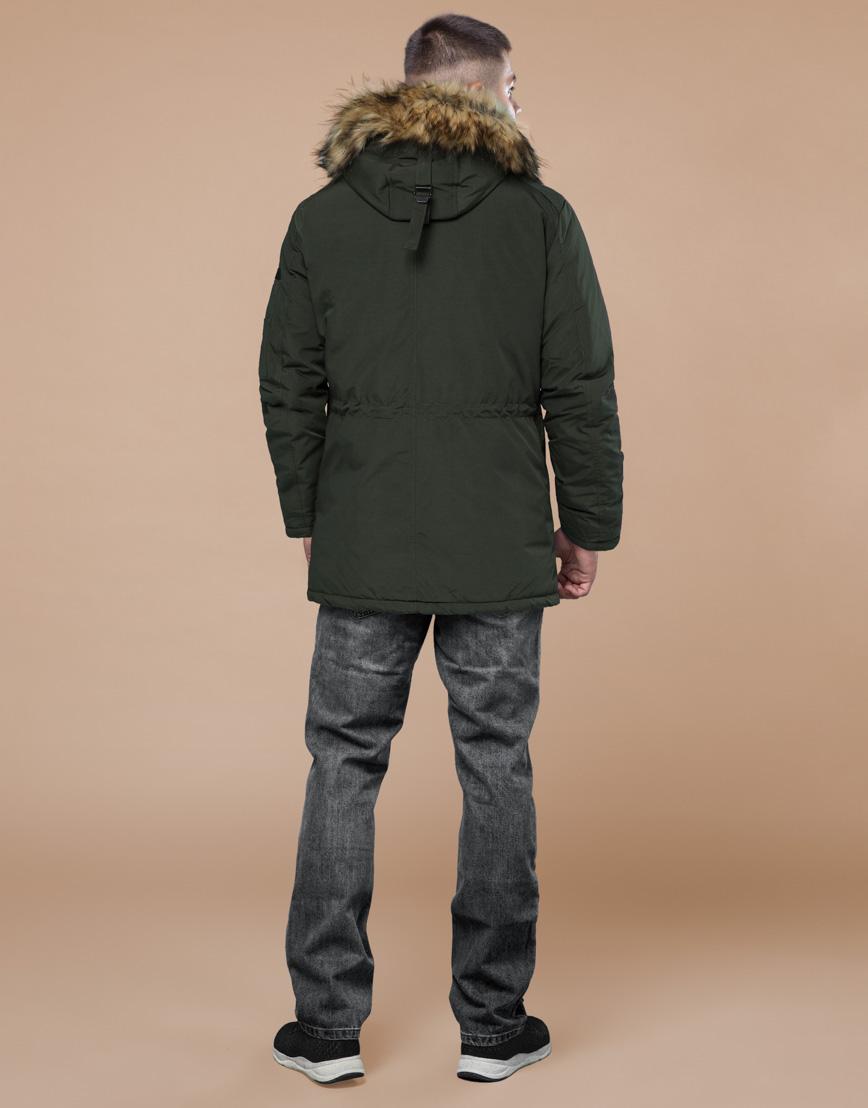 Темно-зеленая парка зимняя оригинального дизайна модель 25770 фото 4