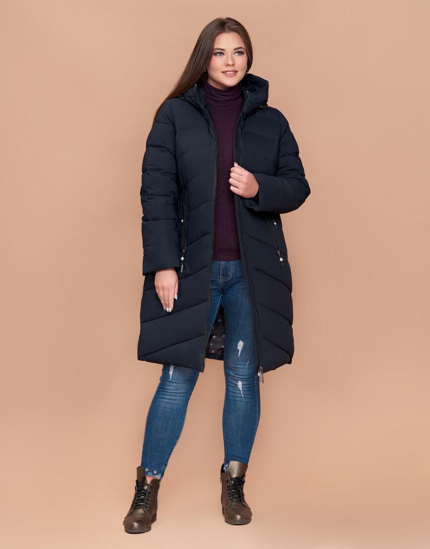 Куртка приталенная женская практичная темно-синяя модель 25015 фото 1