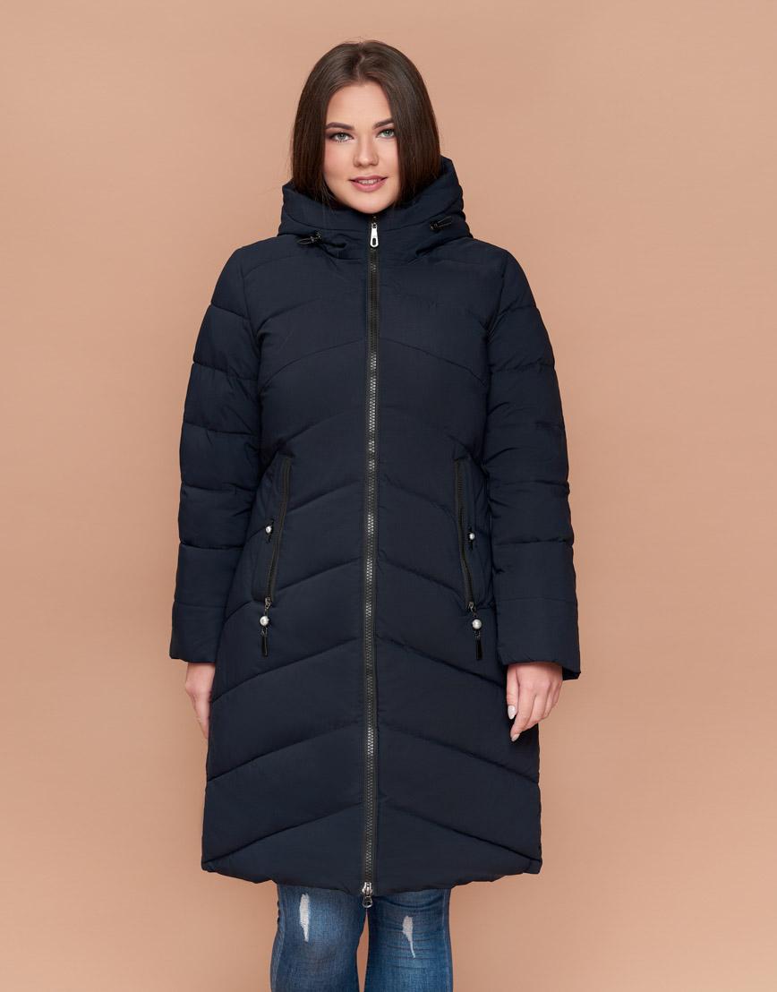 Куртка приталенная женская практичная темно-синяя модель 25015 фото 3