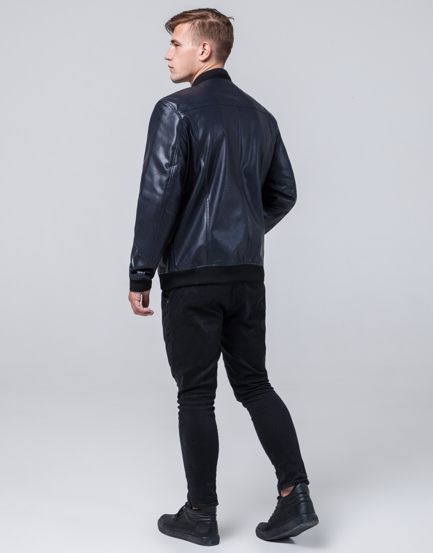 Брендовая темно-синяя молодежная куртка модель 4055 фото 4